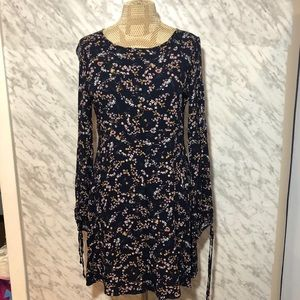 AEO Peasant Dress Navy Blue Floral Size Small